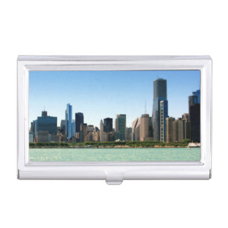 View of Chicago skyline by Lake Michigan Business Card Holder