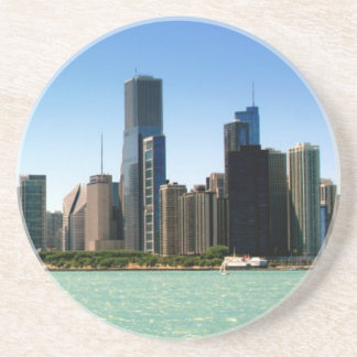 View of Chicago skyline by Lake Michigan Coaster