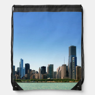 View of Chicago skyline by Lake Michigan Drawstring Bag