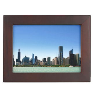 View of Chicago skyline by Lake Michigan Keepsake Box