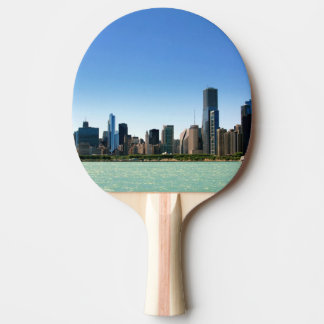 View of Chicago skyline by Lake Michigan Ping Pong Paddle