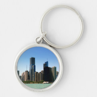 View of Chicago skyline by Lake Michigan Silver-Colored Round Key Ring