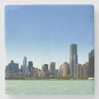 View of Chicago skyline by Lake Michigan Stone Coaster