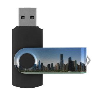 View of Chicago skyline by Lake Michigan Swivel USB 2.0 Flash Drive