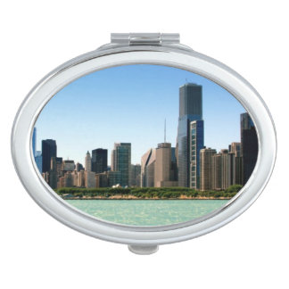 View of Chicago skyline by Lake Michigan Travel Mirror