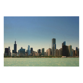 View of Chicago skyline by Lake Michigan Wood Canvases