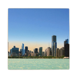 View of Chicago skyline by Lake Michigan Wood Coaster