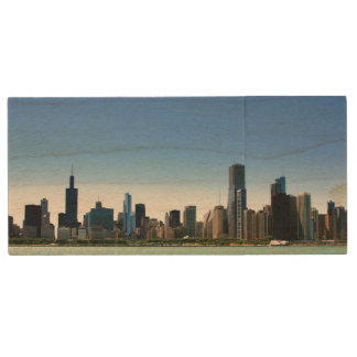 View of Chicago skyline by Lake Michigan Wood USB 2.0 Flash Drive