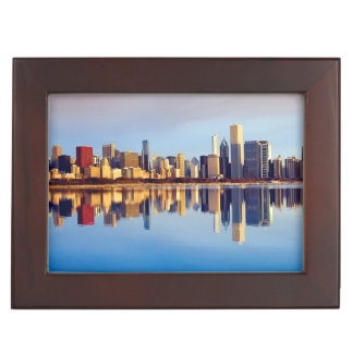View of Chicago skyline with reflection Keepsake Box