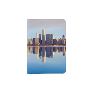 View of Chicago skyline with reflection Passport Holder