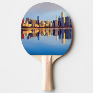 View of Chicago skyline with reflection Ping Pong Paddle