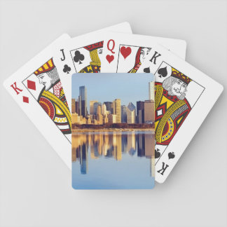 View of Chicago skyline with reflection Playing Cards