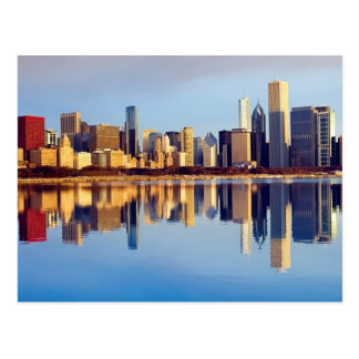 View of Chicago skyline with reflection Postcard