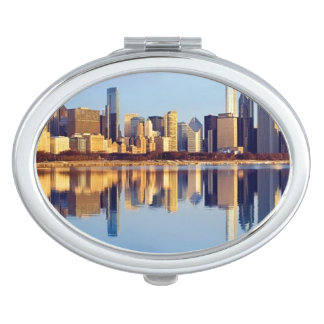 View of Chicago skyline with reflection Vanity Mirror