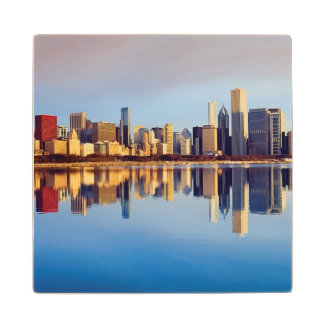 View of Chicago skyline with reflection Wood Coaster