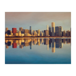 View of Chicago skyline with reflection Wood Wall Art