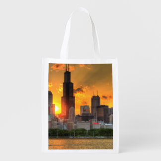 View of Chicago's skyline from  Adler Reusable Grocery Bag