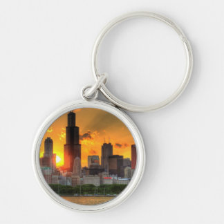 View of Chicago's skyline from  Adler Silver-Colored Round Key Ring