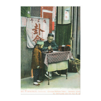 View of Chinese Fortune Teller at Desk Canvas Print