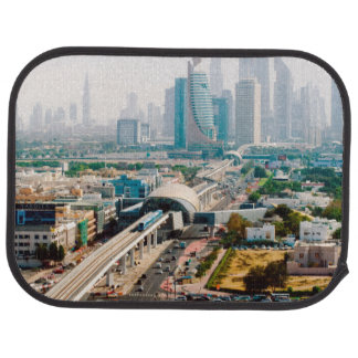 View of city metro line and skyscrapers car mat