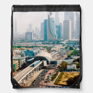 View of city metro line and skyscrapers drawstring bag