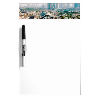 View of city metro line and skyscrapers dry erase board