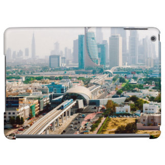 View of city metro line and skyscrapers iPad air case