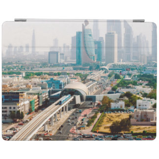 View of city metro line and skyscrapers iPad cover