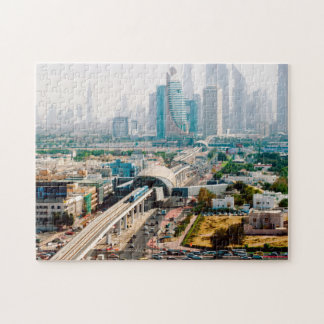 View of city metro line and skyscrapers jigsaw puzzle