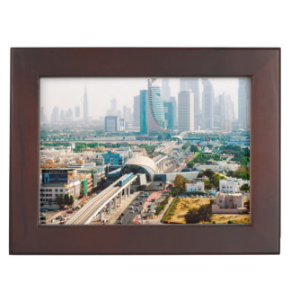 View of city metro line and skyscrapers keepsake box