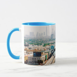 View of city metro line and skyscrapers mug
