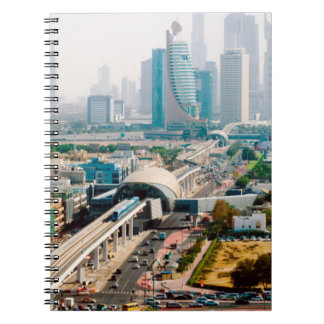 View of city metro line and skyscrapers notebooks