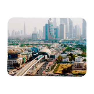 View of city metro line and skyscrapers magnets