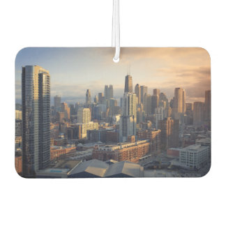 View of cityscape with fantastic light car air freshener