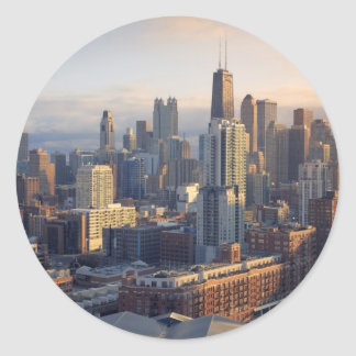 View of cityscape with fantastic light classic round sticker