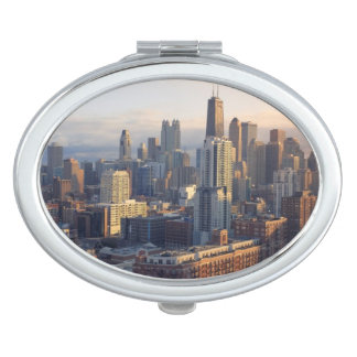 View of cityscape with fantastic light compact mirror