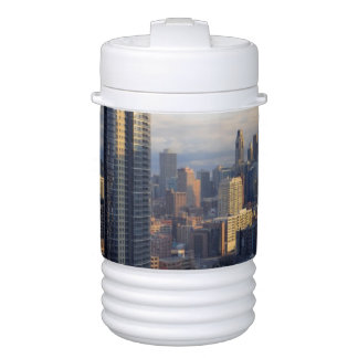 View of cityscape with fantastic light cooler