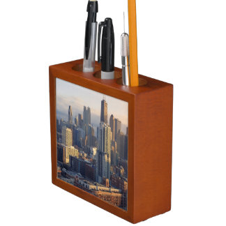 View of cityscape with fantastic light desk organiser
