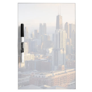 View of cityscape with fantastic light dry erase board