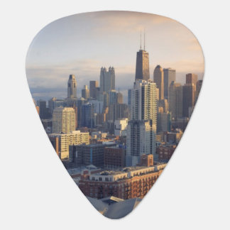 View of cityscape with fantastic light guitar pick