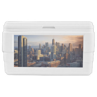 View of cityscape with fantastic light ice chest
