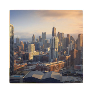 View of cityscape with fantastic light maple wood coaster