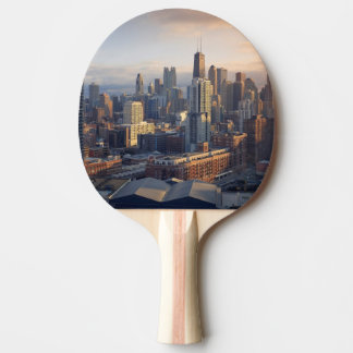 View of cityscape with fantastic light ping pong paddle