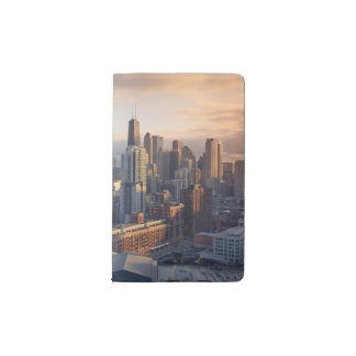 View of cityscape with fantastic light pocket moleskine notebook