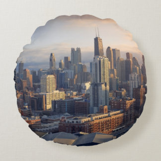 View of cityscape with fantastic light round cushion