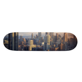 View of cityscape with fantastic light skateboard