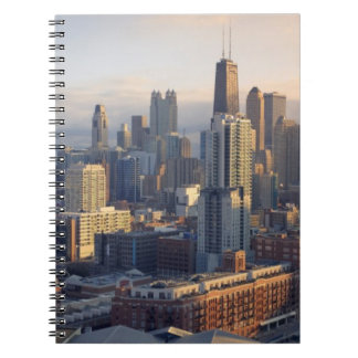 View of cityscape with fantastic light spiral notebook