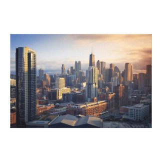 View of cityscape with fantastic light stretched canvas print