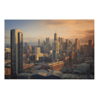 View of cityscape with fantastic light wood wall decor