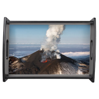 View of crater eruption volcano serving tray